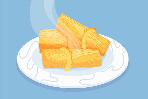 Organische flache design tamales