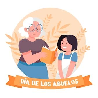 Organische flache dia de los abuelos illustration