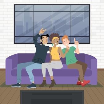 Organische flache dia del amigo illustration
