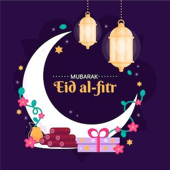 Organische flache eid al-fitr - eid mubarak illustration