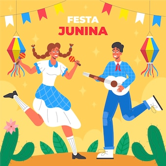 Organische flache festa junina illustration