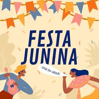Organische flache festa junina illustration