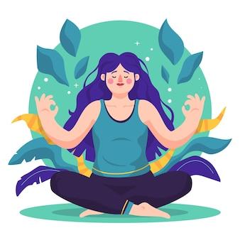 Organische flache frau, die meditiert