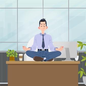 Organische flache geschäftsleute, die illustration meditieren