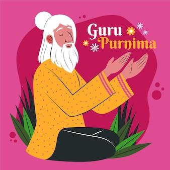 Organische flache guru-purnima-illustration