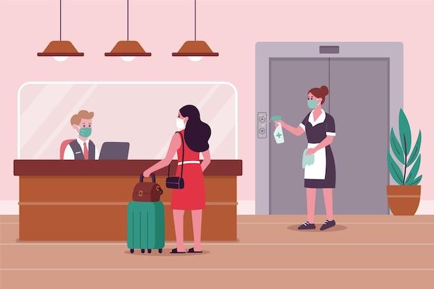 Organische flache illustration neue normalität in hotels