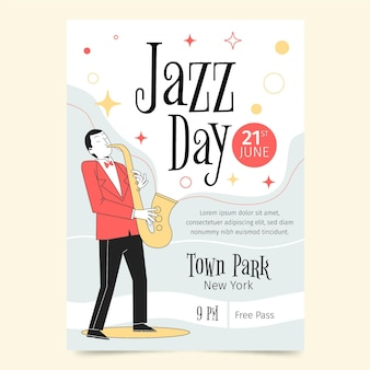 Organische flache internationale jazz-tagesplakatschablone