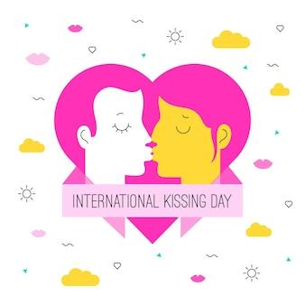 Organische flache internationale kuss-tagesillustration mit dem paar, das küsst