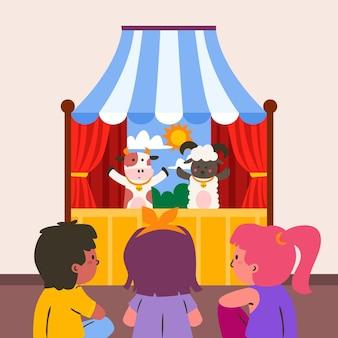 Organische flache kinder, die puppenspiel sehen, illustriert