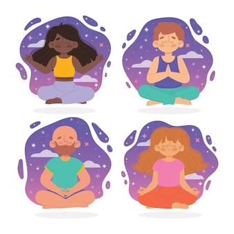 Organische flache leute, die illustration meditieren