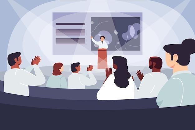 Organische flache medizinische konferenzillustration