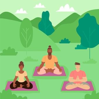Organische flache menschen, die friedlich meditieren