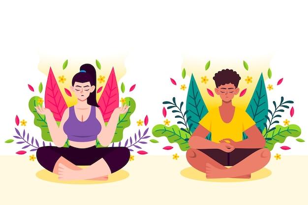 Organische flache menschen, die zusammen meditieren Kostenlosen Vektoren
