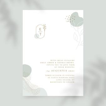 Organische flache minimalistische hochzeitseinladungsschablone