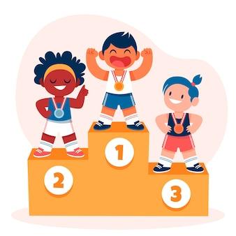 Organische flache olympische spiele 2021 illustration