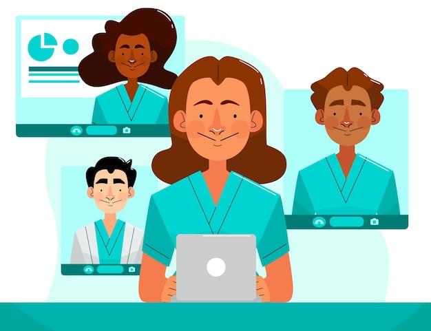 Organische flache online-medizinische konferenz