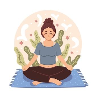 Organische flache person, die in lotussitz meditiert