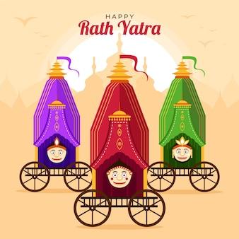 Organische flache rath yatra illustration