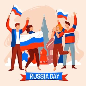 Organische flache russland-tagesillustration