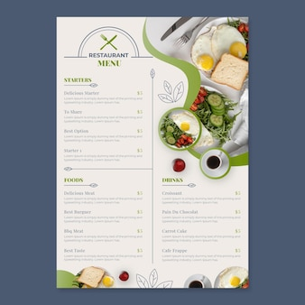 Organische flache rustikale restaurantmenüschablone mit foto