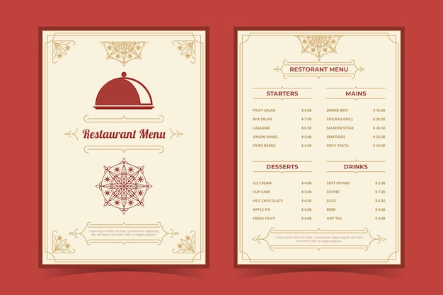 Organische flache rustikale restaurantmenüschablone