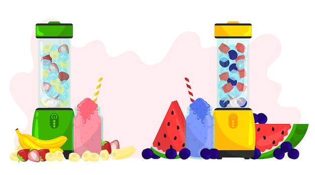 Organische flache smoothies im mixerglas