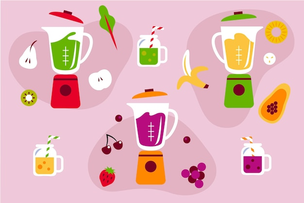 Organische flache smoothies in der mixerglasillustration