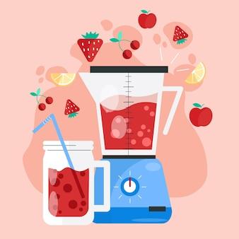 Organische flache smoothies in der mixerglasillustration