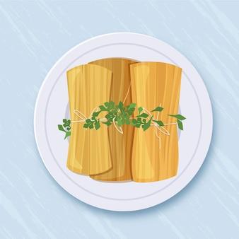 Organische flache tamales illustriert Kostenlosen Vektoren