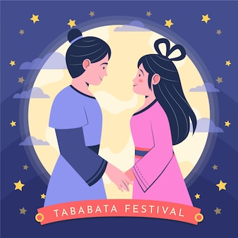 Organische flache tanabata-illustration