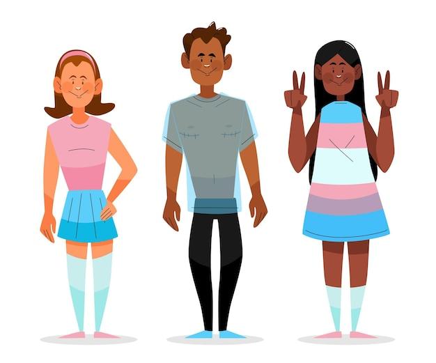 Organische flache transgender-personensammlung