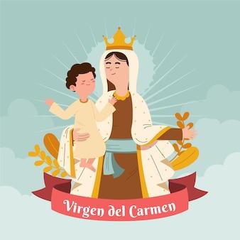 Organische flache virgen del carmen illustration