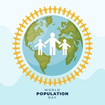Organische flache weltbevölkerungs-tagesillustration