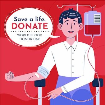 Organische flache weltblutspender-tagesillustration