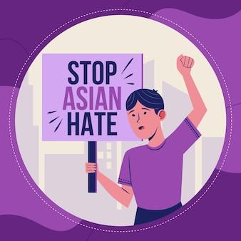 Organische flat stop asiatische hassillustration