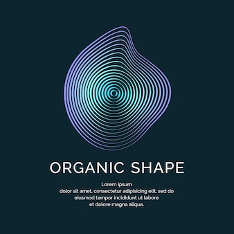 Organische formen mit dynamischen wellen und linien auf dunklem hintergrund. vektorillustration.