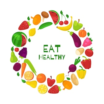 Organische gesunde früchte und gemüse im kreis essen gesunde karikaturillustration.