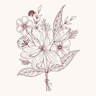 Organische hand gezeichnete blumenkarte vektor design garten blume lavendel rose weiß anemone eukalyptus thymian blätter elegantes grün, beere, waldstrauß drucken.