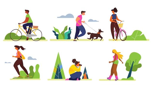 Organische menschen, die outdoor-aktivitäten machen