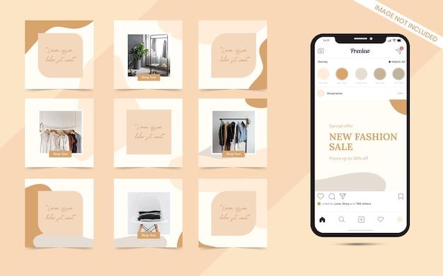 Organische minimalistische social-media-vorlage für instagram puzzle square fashion sale promotion