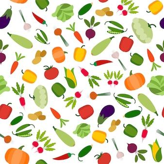 Organische nahtlose musterillustration des gemüses in der flachen art. frischer gesunder köstlicher tomatenkartoffel-karottenauberginengemüsepfeffer des grünen lebensmittels.
