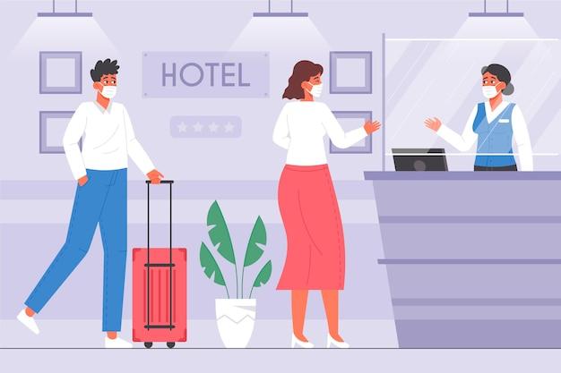 Organische wohnung neue normalität in der hotelillustration