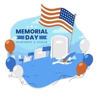 Organische wohnung usa memorial day illustration