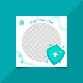 Organischer flacher coronavirus-facebook-rahmen Kostenlosen Vektoren