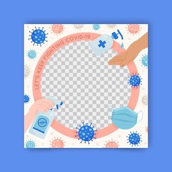 Organischer flacher coronavirus-facebook-rahmen