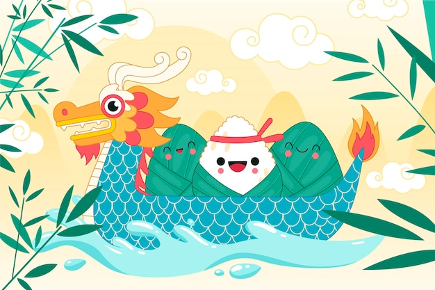 Organischer flacher drachenboothintergrund