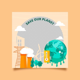 Organischer flacher facebook-rahmen des klimawandels