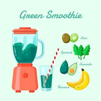 Organischer flacher grüner smoothie im mixerglas