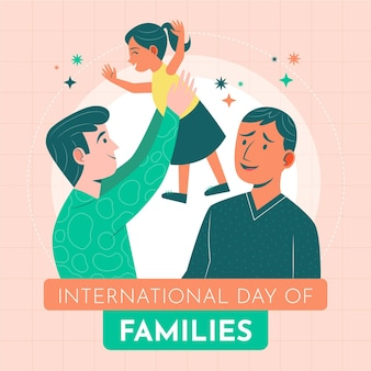 Organischer flacher internationaler tag der familienillustration