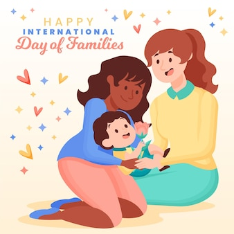 Organischer flacher internationaler tag der familienillustration